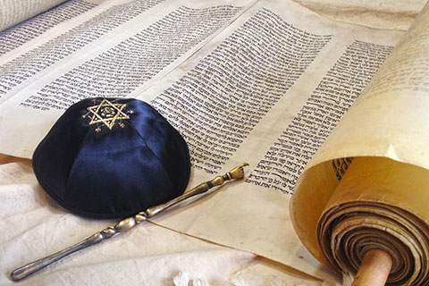 This is a stock photo. An up close view of the Torah.